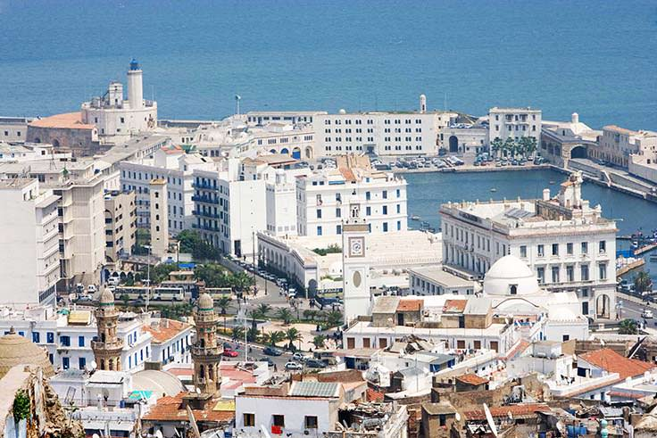View of the Centre of Algiers, the port and the naval command.