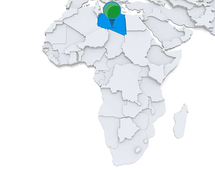 Libya on a map of Africa