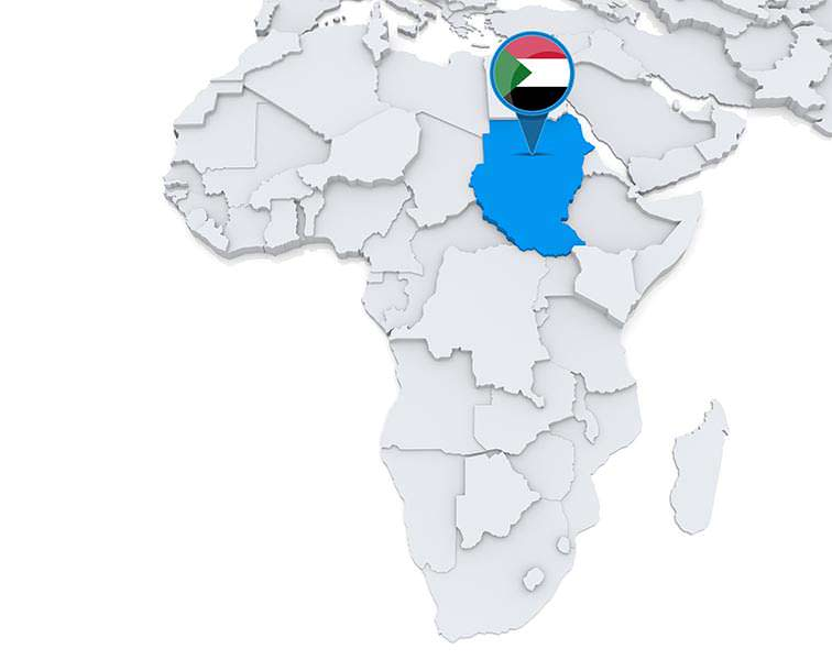 Sudan on a map of Africa