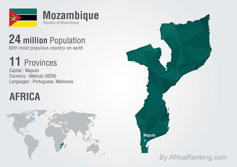 Mozambique world map with a pixel diamond texture.