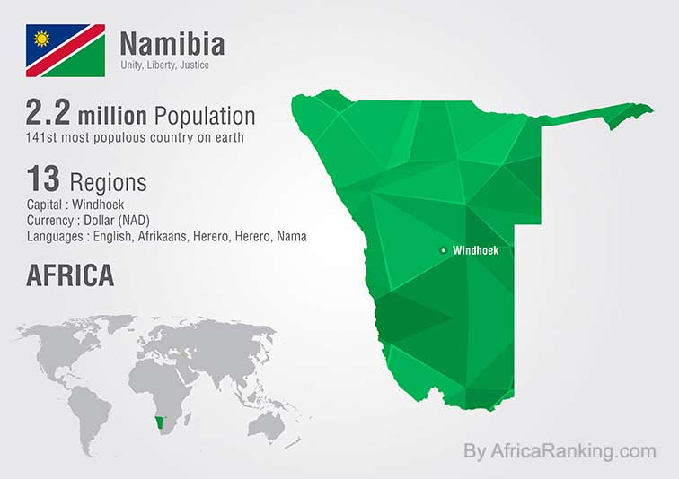 Namibia world map with a pixel diamond texture.