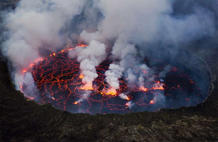 Mount Nyiragonga lava lake - this is the most dangerous volcano in Africa