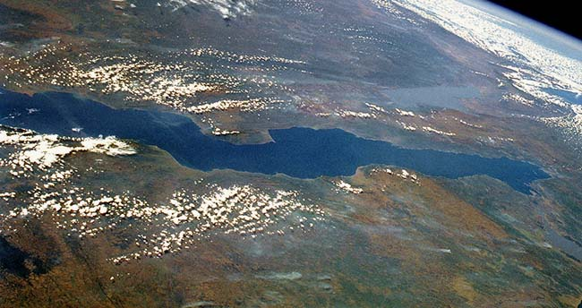 Lake Tanganyika from space - second largest lakes in Africa