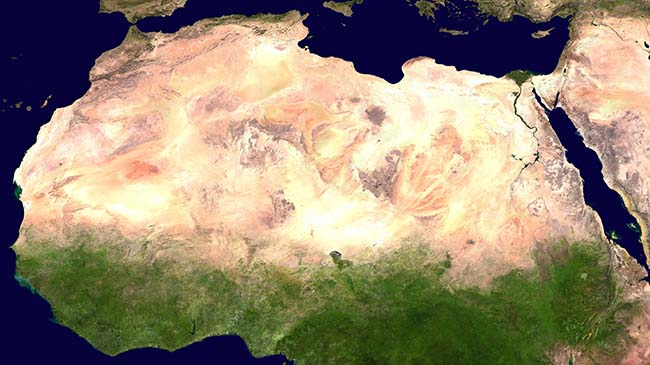 The Sahara Desert as seen from space